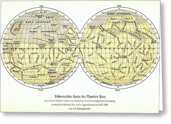 Map Of Mars Greeting Card