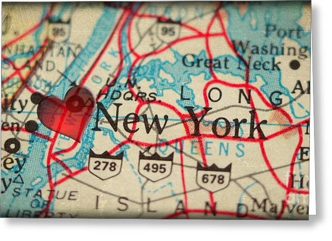 Map Of New York City Usa In A Antique Distressed Vintage Grunge  Greeting Card by ELITE IMAGE photography By Chad McDermott