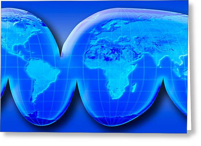 Map Of World From Goodes Homolosine Greeting Card by Panoramic Images