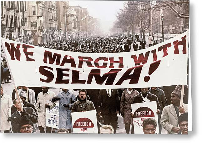 Marchers Carrying Banner Lead Way Greeting Card