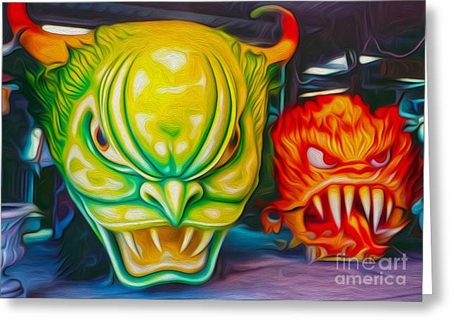 Mardi Gras Devils Greeting Card by Gregory Dyer
