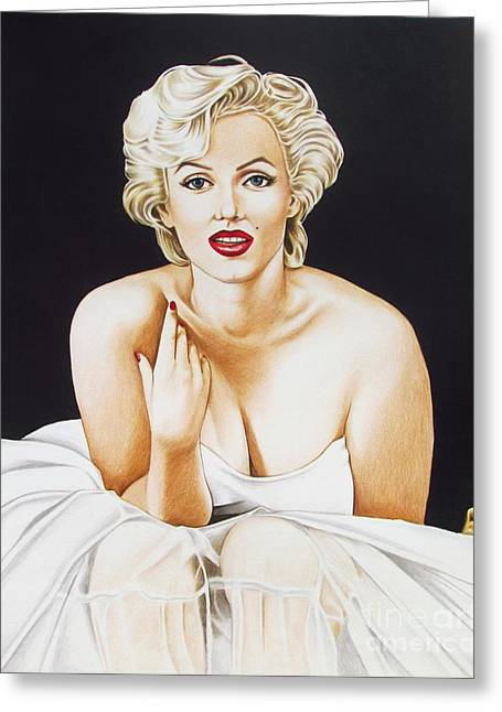 Marilyn In White Greeting Card by Joseph Sonday