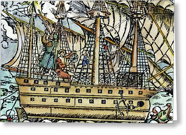 Mariners Sighting, 1557 Greeting Card by Granger