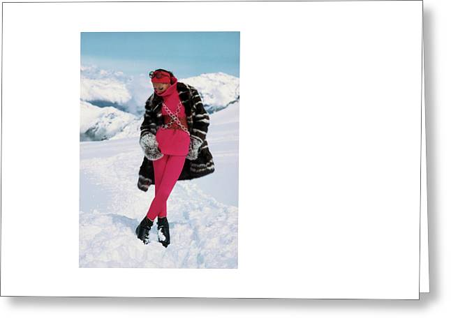 Marisa Berenson In The Snow Greeting Card by Arnaud de Rosnay