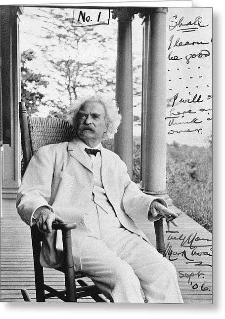 Mark Twain On A Porch Greeting Card by Underwood Archives
