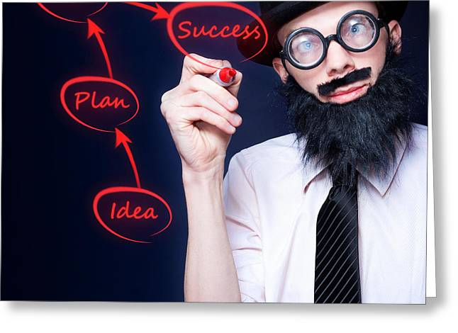 Marketing Business Man Drawing Success Diagram Greeting Card by Jorgo Photography - Wall Art Gallery
