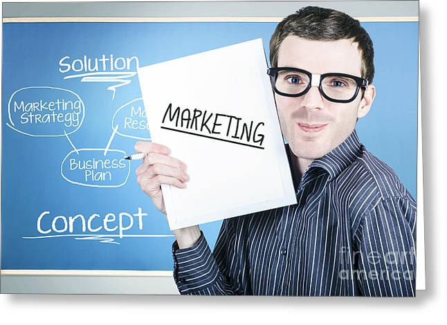 Marketing Man Displaying Business Plan For Success Greeting Card