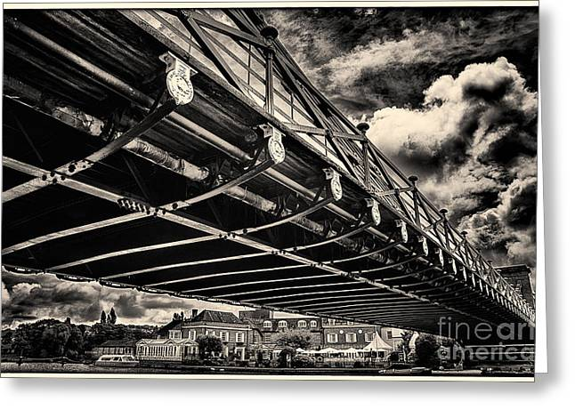 Marlow Suspension Bridge Spanning The River Thames Greeting Card