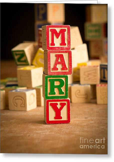 Mary - Alphabet Blocks Greeting Card by Edward Fielding