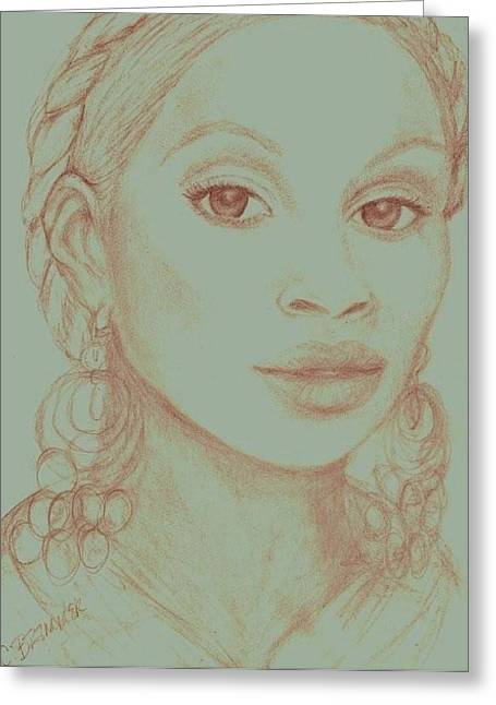 Greeting Card featuring the drawing Mary J Blige by Christy Saunders Church