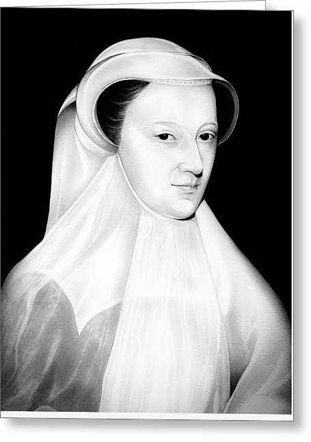 Mary Queen Of Scotland In White Mourning Greeting Card by Fred Larucci