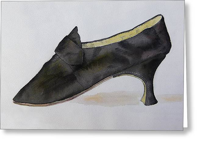 Mary Queen Of Scots Plain Black Satin Shoe Greeting Card by Mary Quarry