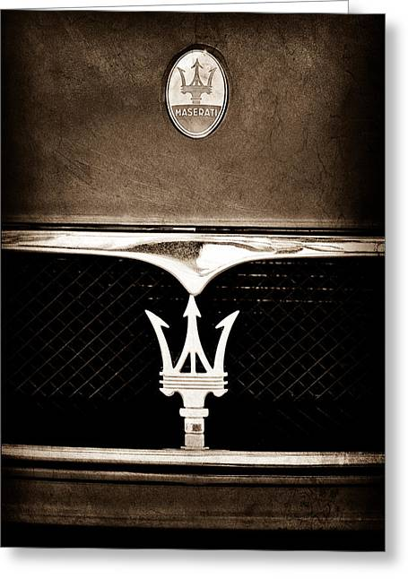 Maserati Hood - Grille Emblems Greeting Card