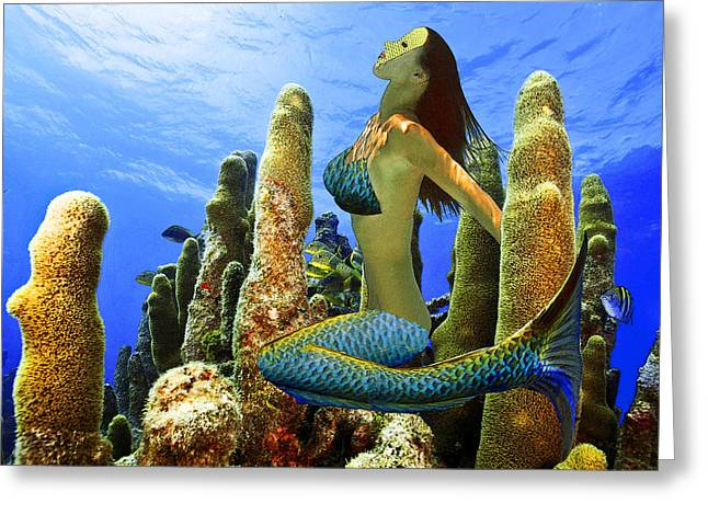Greeting Card featuring the photograph Masked Mermaid by Paula Porterfield-Izzo