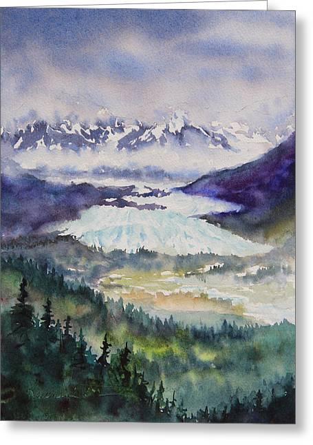 Greeting Card featuring the painting Matanuska Glacier by Karen Mattson
