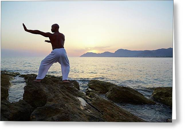 Mature Man Doing Tai Chi Greeting Card by Ruth Jenkinson