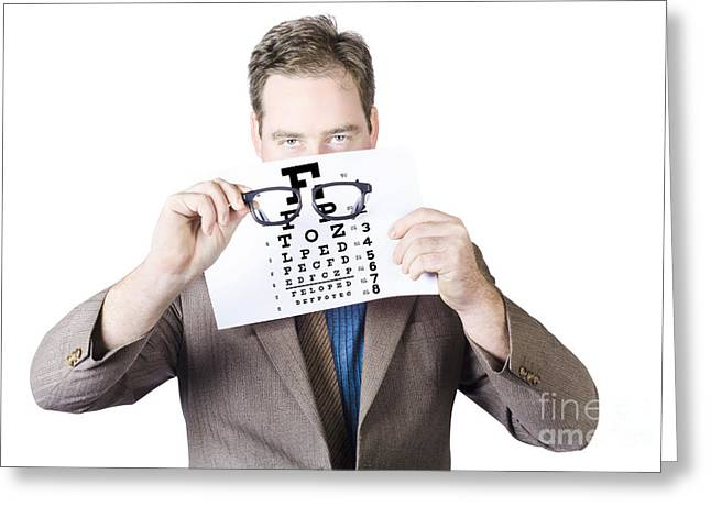 Mature Man Holding Glasses And Eye Checking Chart Greeting Card