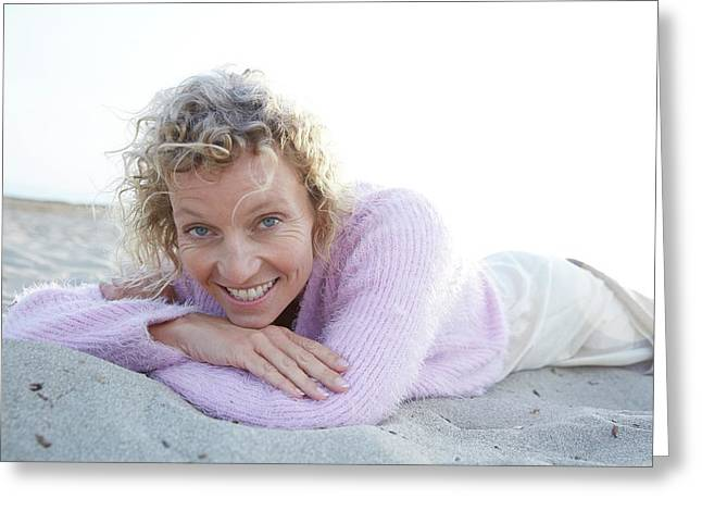 Mature Woman On Beach Greeting Card by Ruth Jenkinson