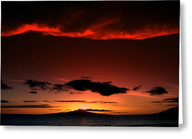 Maui Sunset Greeting Card by Ron Roberts