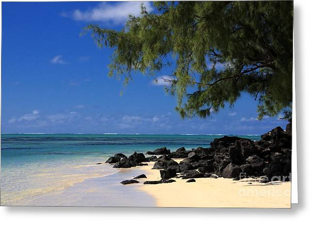 Mauritius Blue Sea Greeting Card by IB Photography