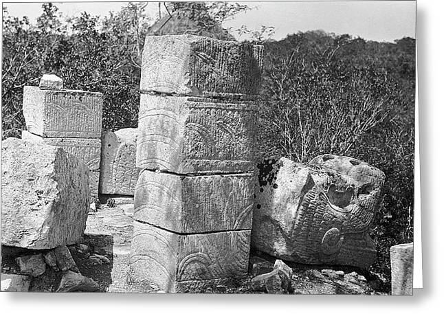 Mayan Temple Carvings Greeting Card