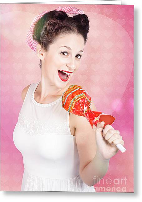 Mc Female Pin Up Singing With Lollipop Microphone Greeting Card