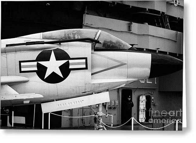 Mcdonnell F3h2n F3b F3 Demon On The Flight Deck On Display At The Intrepid Sea Air Space Museum Greeting Card