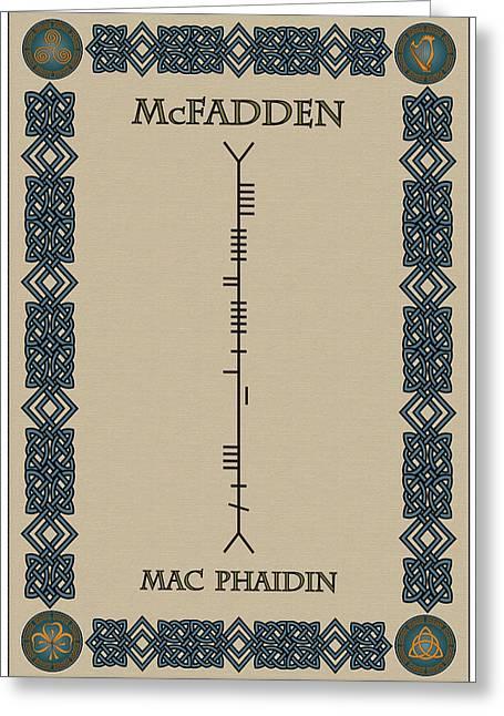 Mcfadden Written In Ogham Greeting Card by Ireland Calling