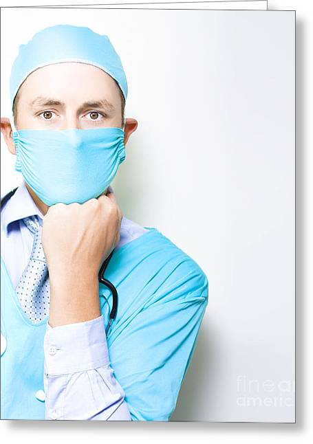 Md Or Medical Doctor Thinking With Hand To Face Greeting Card