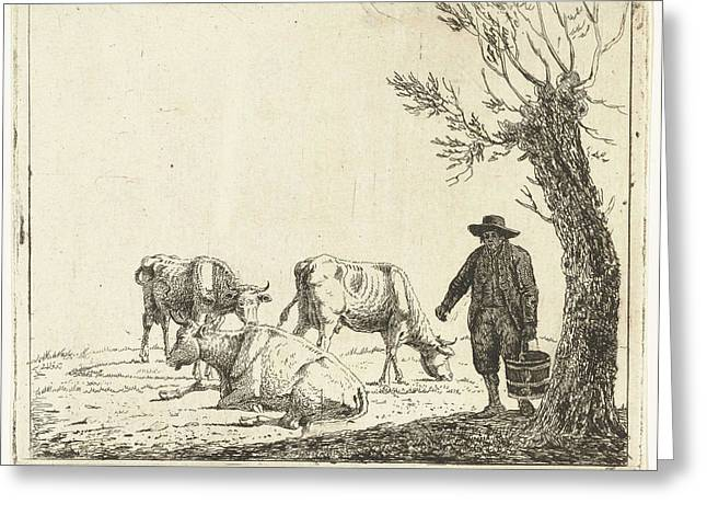 Meadow Landscape With Man Bucket With Three Cows Greeting Card by Artokoloro