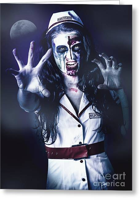 Medical Zombie Looking To Kill At Dead Of Night Greeting Card by Jorgo Photography - Wall Art Gallery