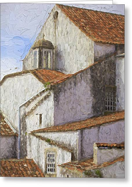 Medieval Village Of Obidos Greeting Card by David Letts