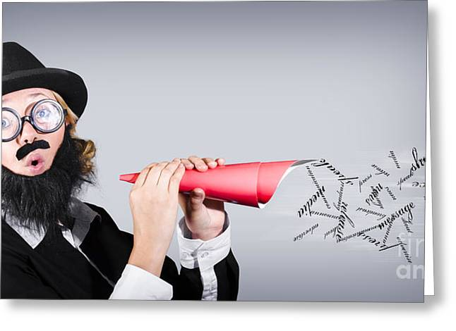 Megaphone Man Making Loud Business Noise Greeting Card by Jorgo Photography - Wall Art Gallery