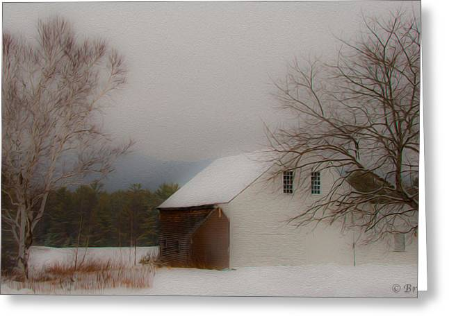 Greeting Card featuring the photograph Melvin Village Barn In Winter by Brenda Jacobs