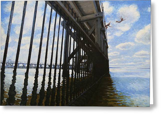 Memories Of Brighton-le-sands Baths Greeting Card by Jon Falkenmire