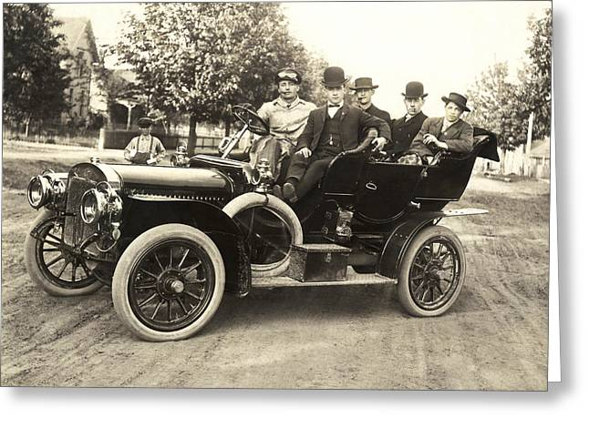 Men In An Early Auto Greeting Card