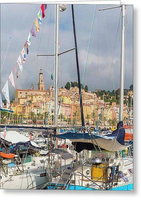 Menton, France.  View Over Harbour Greeting Card