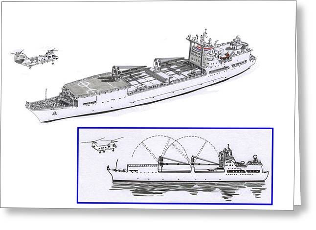 Merchant Marine Conceptual Drawing Greeting Card by Jack Pumphrey