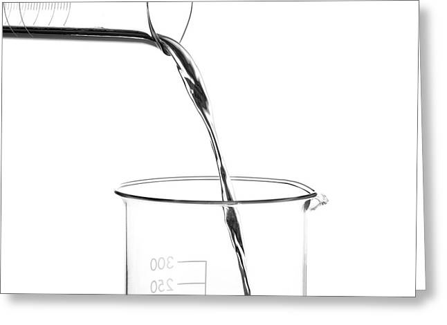 Mercury Pouring From A Measuring Cylinder Greeting Card by Science Photo Library