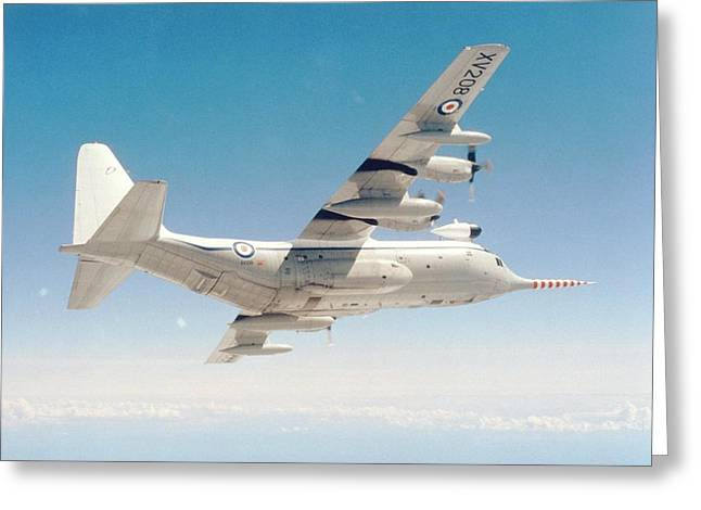 Met Office 'snoopy' Hercules Aircraft Greeting Card by British Crown Copyright, The Met Office / Science Photo Library