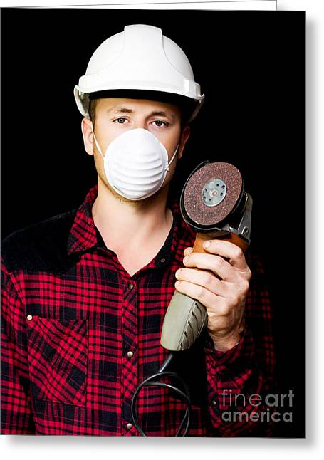 Metal Fabrication Workman With Rotary Disc Sander Greeting Card by Jorgo Photography - Wall Art Gallery