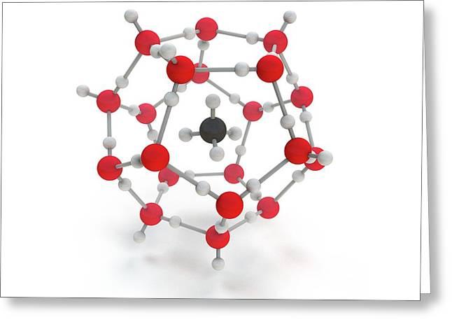 Methane Hydrate Molecule Greeting Card by Mikkel Juul Jensen
