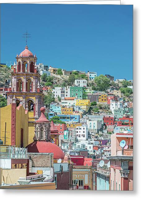 Mexico, Rooftop View Of Guanajuato Greeting Card by Rob Tilley