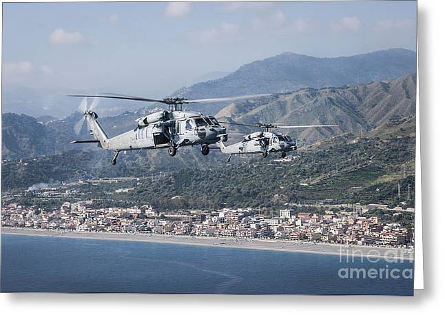 Mh-60s Sea Hawk Helicopters Greeting Card by Stocktrek Images