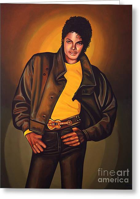 Michael Jackson Greeting Card by Paul Meijering