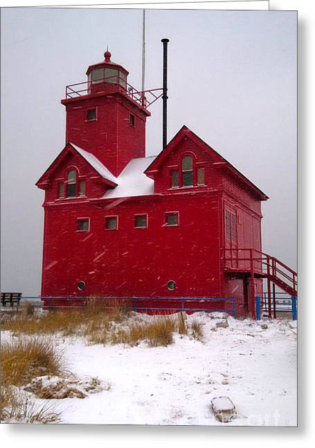 Michigan Big Red Lighthouse Greeting Card