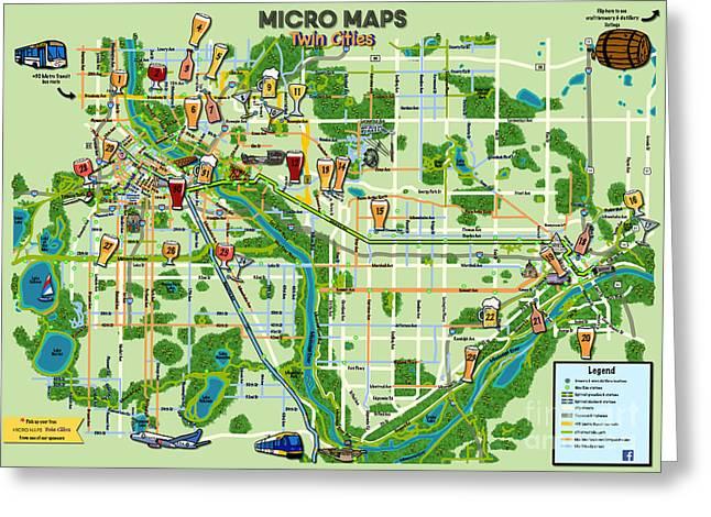 Micro Maps Twin Cities Greeting Card