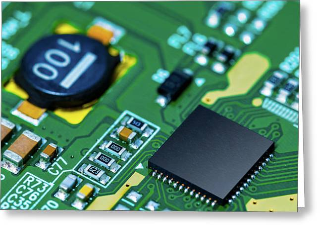 Microchip On Printed Circuit Board Greeting Card