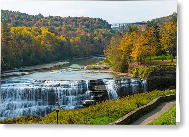 Middle Falls In Autumn, Letchworth Greeting Card by Panoramic Images