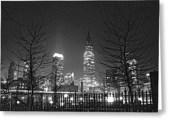 Midtown Manhattan At Night Greeting Card by Underwood Archives